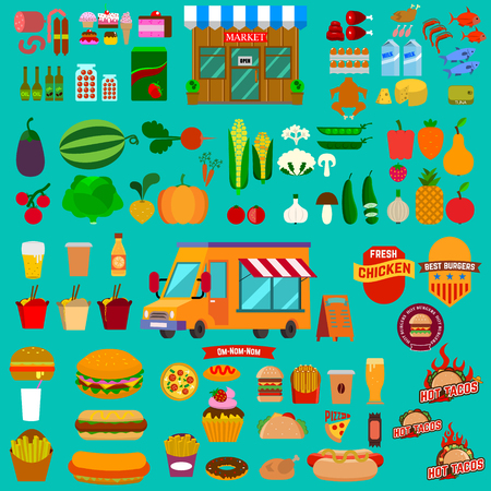 cibo: Grande set di icone di cibo. Camion di cibo. Mercato. Cibo spazzatura. Fast food. cibo salutare Vettoriali