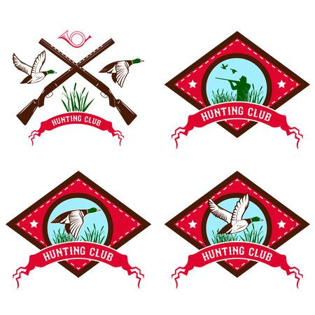 fusil de chasse: Set d'étiquettes de club de chasse de canard. la chasse de canard. élément de design dans le vecteur. Logo, étiquette ou modèle de badge.