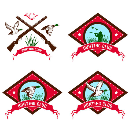 Set of duck hunting club labels. Duck hunting. Design element in vector. Logo, label or badge template.