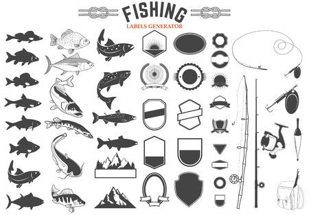 atún: Conjunto de plantillas de logotipo del club de pesca y elementos de diseño. siluetas de peces. cañas de pescar y señuelos de pesca. Elementos del diseño en vectores. Vectores