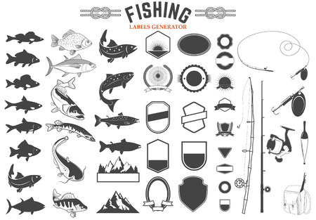 Set of Fishing club logo templates and design elements. Fish silhouettes. Fishing rods and fishing lures. Design elements in vector. Vettoriali