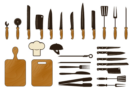 glass cutter: Kitchen tool collection, vector set
