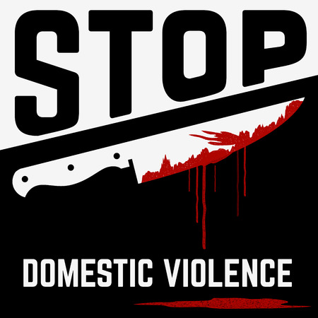 victim: Stop domestic violence concept illustration. Knife with blood. Victim. Vector illustration.