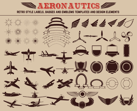 aeronautic: Aeronautics retro style labels, badges and emblems templates and design elements.
