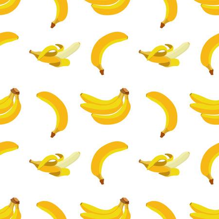 platano caricatura: De fondo sin fisuras con los plátanos amarillos. elemento de diseño en vectores. Vectores