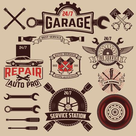 garage automobile: Définir des icônes de service de voiture. Illustration