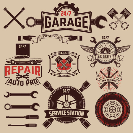 mechanic: Set of Car service icons. Illustration