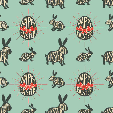 flor caricatura: Seamless pattern with easter rabbits. Happy Easter. Design element in vector.