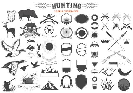 pato real: Conjunto de plantillas de etiquetas de caza e insignias y elementos de diseño. Vectores
