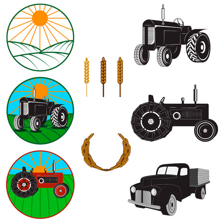 truck tractor: Set of farm fresh labels and design elements.