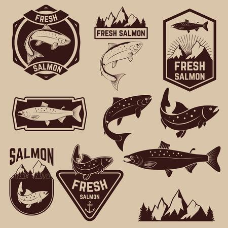 Vintage fresh salmon fish emblems, labels and design elements.