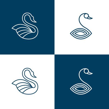 Set of swan line style templates. Ilustrace