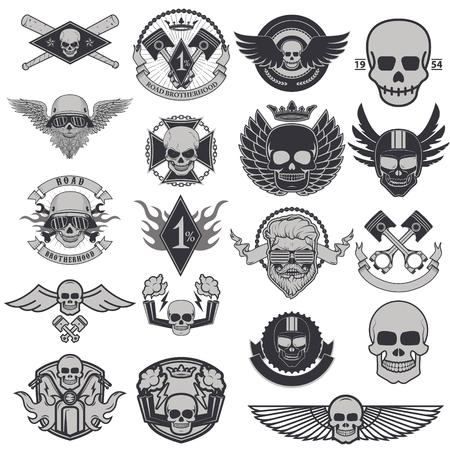 racing wings: Set of Vintage motorcycle and biker t-shirt prints, emblems, labels, badges