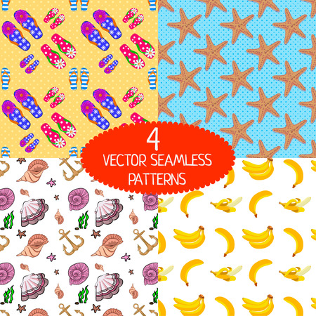 flipflop: Set of summer seamless patterns. Flip-flop pattern. Banana pattern. Seashells pattern. Sea star pattern. Illustration
