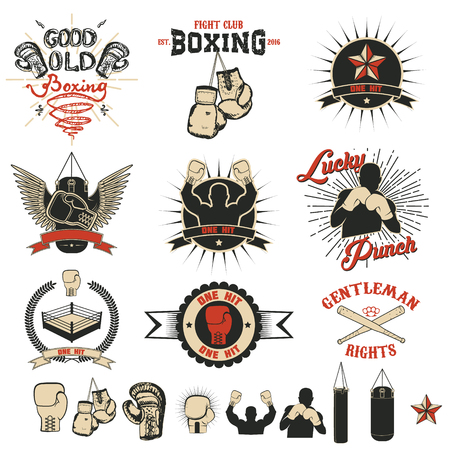 Set of the boxing club labels Vettoriali