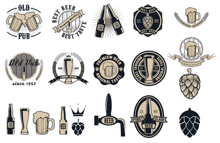 drink bottle: Beer pub labels, badges and icons collection.