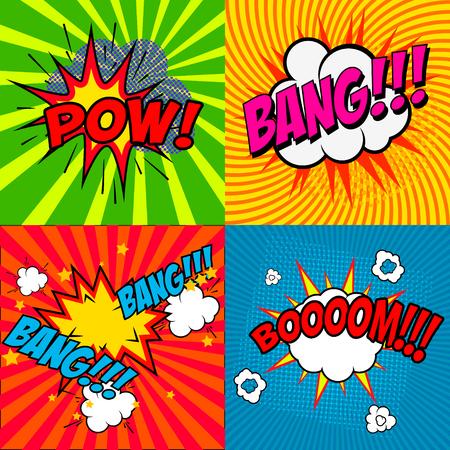 pow: Set of comic style phrases Pow!, Bang!!! Booooom!!! Vector design elements. Pop art style phrases