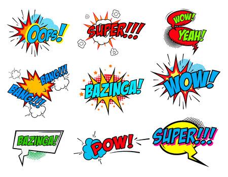 Set of comic text, Pop art style phrases. Waw, Pow, Bang-Bang, Super!, Bazinga, Oops! Vector design elements.