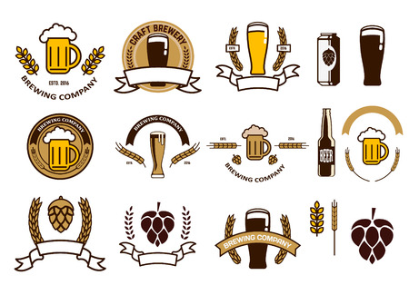 Set of craft beer emblems and logo templates. Retro vector design graphic element, emblem, logo, insignia, sign, identity, logotype, poster. Çizim