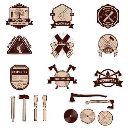 Set of the carpentry labels and emblems. Woodworks. Illustration