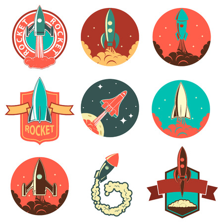Set of rocket labels and design elements. Rocket launch. Vintage rocket ships.