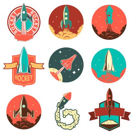 Conjunto de etiquetas de cohetes y elementos de diseño. Lanzamiento de cohete. naves espaciales de la vendimia. Ilustración de vector