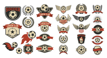 soccer club: Set of soccer club labels.