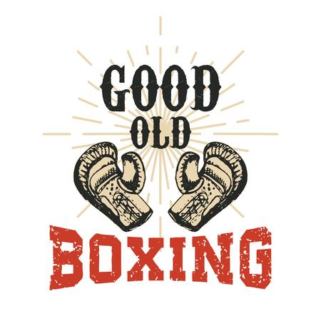 knockdown: Good Old Boxing. illustration. Design element for t-shirt print.