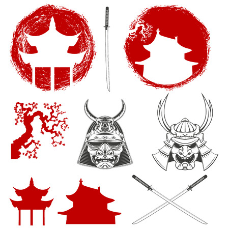 Set of design elements for Japan. Samurai. Samurai sword. design elements.