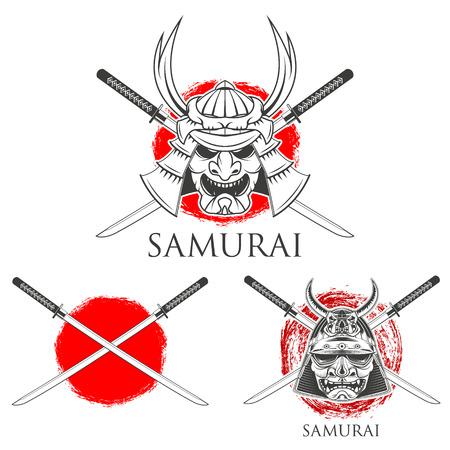 사무라이 가면. 사무라이 검. 디자인 요소입니다.