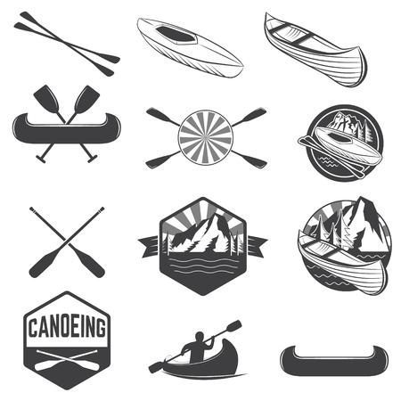 Conjunto de etiquetas de piragüismo y elementos de diseño. etiquetas de kayak. Canotaje. elementos de diseño para la etiqueta, emblema. ilustración. Ilustración de vector
