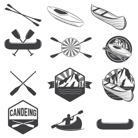 canoeing: Set of canoeing labels and design elements. kayak labels. Rafting. design elements for label,  emblem. illustration.