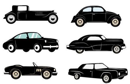 Set of retro cars icons. Retro design graphic element, emblem,insignia, sign, identity, poster. design elements.