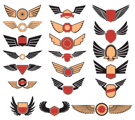 Establece ala insignias de la aviación. Conjunto de los emblemas con alas. Diseño gráfico retro elemento, emblema, muestra, identidad, cartel. elementos de diseño. Foto de archivo - 52546519