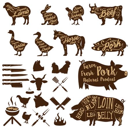 carnicero: Conjunto de animales de granja etiquetas. herramientas de carnicero. carne de cerdo fresca. elementos de diseño para la etiqueta, placa. ilustraciones. Vectores