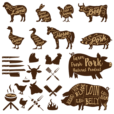 pork meat: Set of farm animals labels. butcher tools. Fresh pork. Design elements for label,  badge. illustrations.