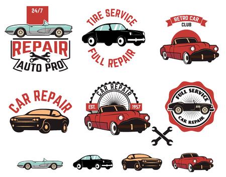 mecanico automotriz: Conjunto de etiquetas de servicio de reparación de automóviles. Diseño gráfico retro elemento, emblema, muestra, identidad, cartel. elementos de diseño.