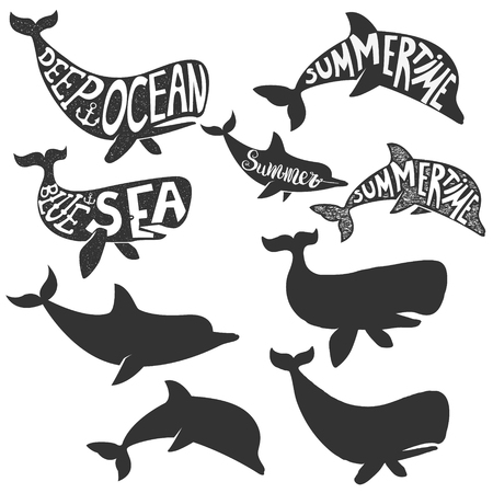 deep sea: deep sea. Summertime. Dolphin and whales silhouettes with lettering. design elements.