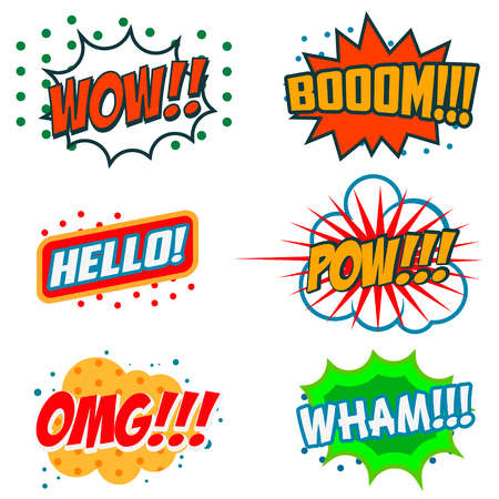 word of god: Set of Comics Bubbles in Vintage Style. Set of comic style phrases. Boom, Wow, OMG, WHAM, HELLO!, POW!!!. Illustration