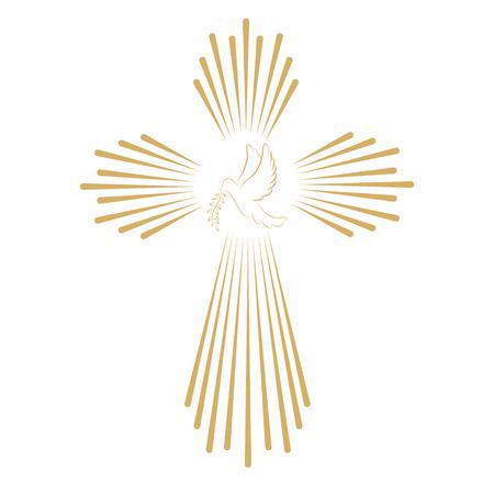 Croix avec la colombe. Église modèle de l'emblème. Vector design element. Vecteurs