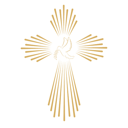 christian cross and wings: Cross with the dove. Church emblem template. Vector design element.