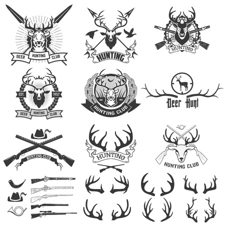 Set of hunting club logo, emblem, illustration in vector. Labels and Design elements camp, rest, hunting: deer silhouette, horns, heraldic elements. Illustration