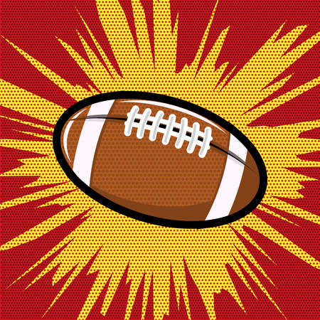 kickoff: Ball for Rugby or American football pop art retro style. Pop art style ball. Vector design element.