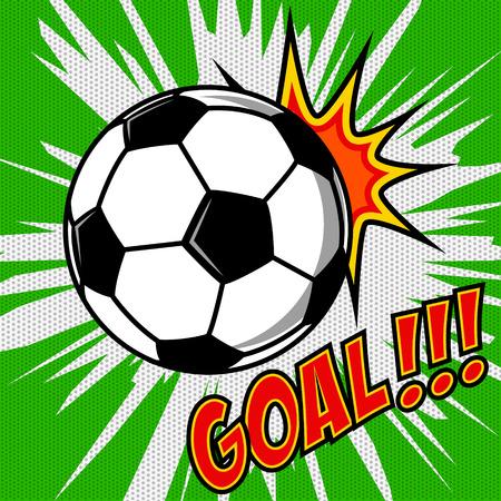 soccer goal: Goal!!! Comic style sport illustration with soccer ball. Football ball. Football fan emotions. Vector design element.