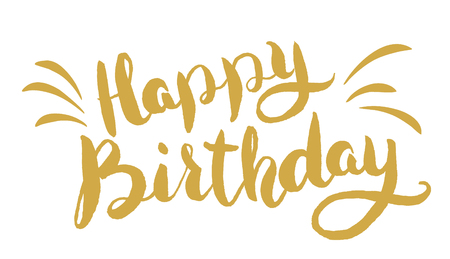 Happy Birthday. Hand drawn lettering. Greeting card template.