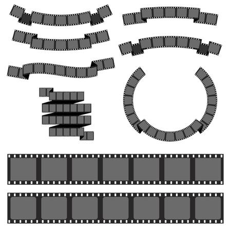 rollo pelicula: Conjunto de diversas banderas tira de película. tira de película negativa, tira de película medios de comunicación. Elemento de diseño vectorial fol logotipo, sello, emblema.