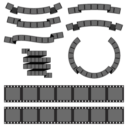 photo strip: Set of different filmstrip banners. Negative filmstrip, media filmstrip. Vector design element fol logo, label, badge, emblem. Illustration