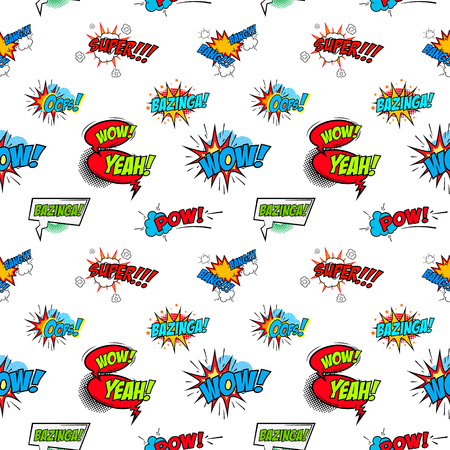 phrases: Set of comic text, Pop art style phrases. Seamless pattern. Vector design element.