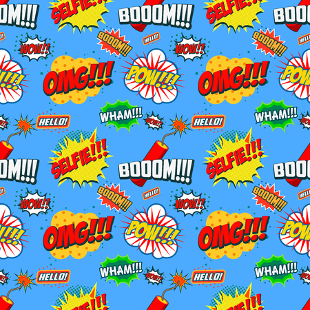 phrases: Wow seamless pattern. Seamless pattern with comic style phrases. Vector design element.