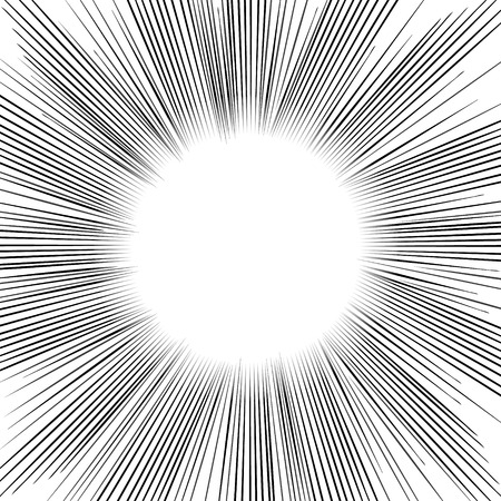 manga: Radial Speed Lines graphic effects. Manga speed frame.Comic book Superhero action. Vector explosion. Vector design element.